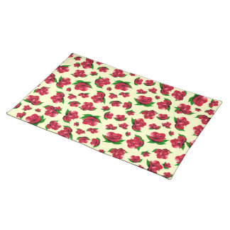 Red Rose Pattern cream Placemats
