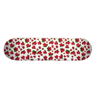 Red Rose Pattern Girly Girls skateboard