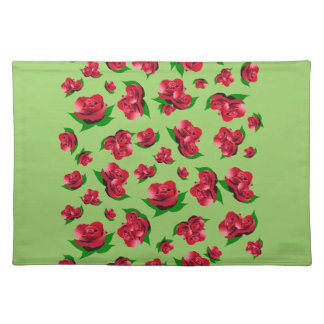 Red Rose Pattern Green Placemats