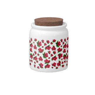 Red Rose Pattern Jar (small print) Candy Jars