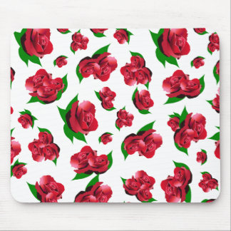 Red Rose Pattern Mouse Pad