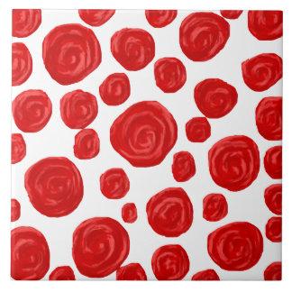Red Rose Pattern on White. Ceramic Tile