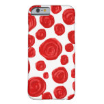 Red Rose Pattern on White. iPhone 6 Case