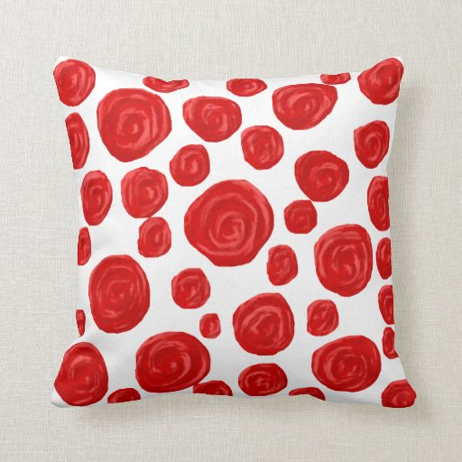 Red Rose Pattern on White. Pillows