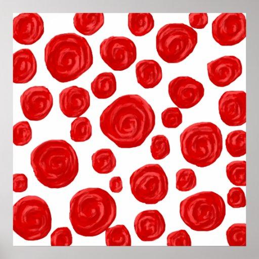 Red Rose Pattern. Poster