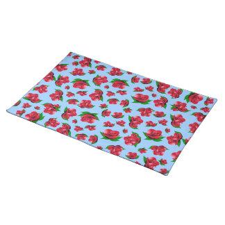 Red Rose Pattern powder blue Placemats