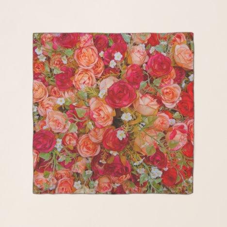 Red Rose Pattern Scarf