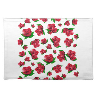 Red Rose Pattern White Placemats