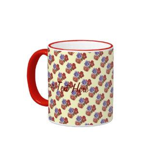 Red rose peach rose blue rose flower art ringer coffee mug