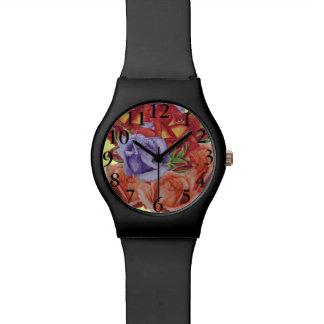 Red rose peach rose & blue rose flower art wristwatches