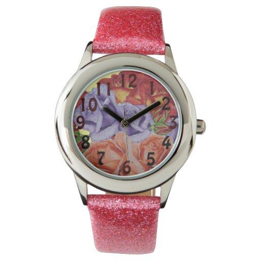 Red rose peach rose & blue rose flower art wristwatch