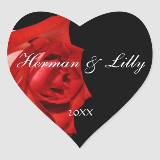 Red Rose Personalized Heart Wedding Sticker