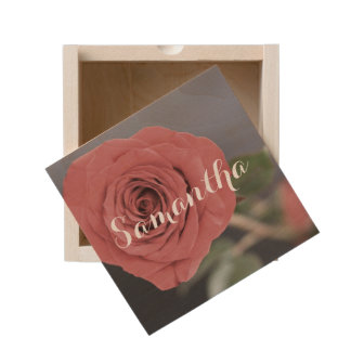 Red Rose personalized wooden box