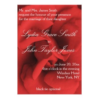 Red Rose Petals Elegant Wedding Invitations