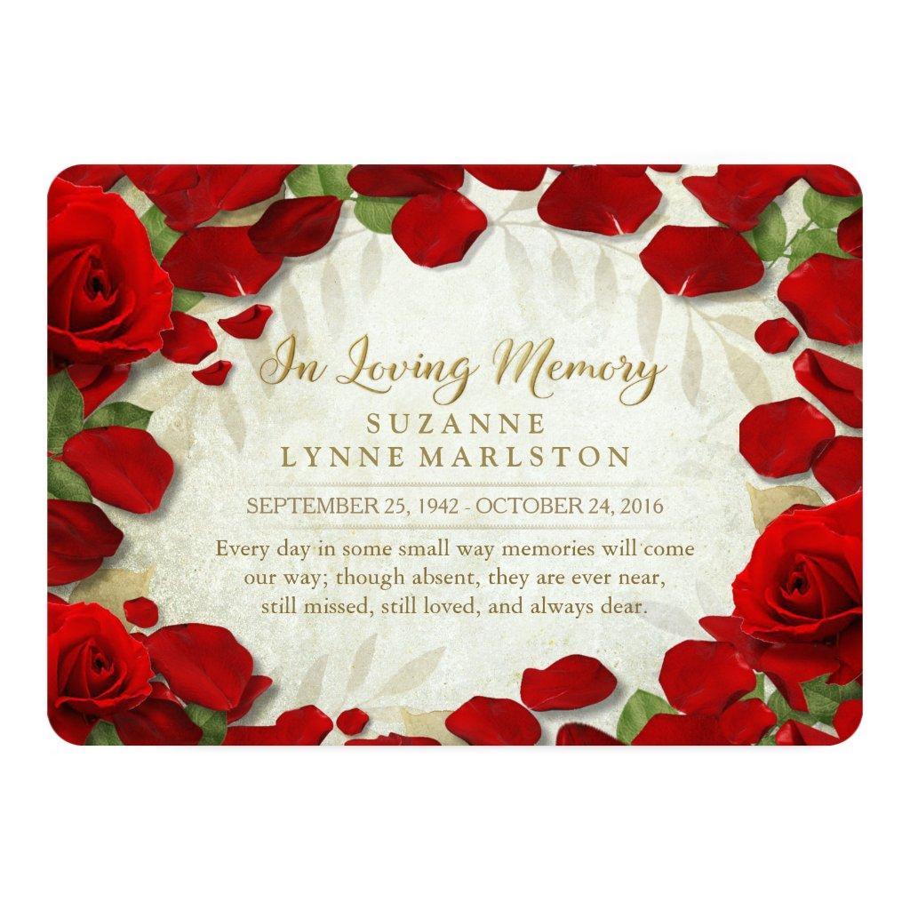 Red Rose Petals Golden Memorial Service Invitation