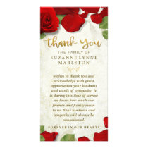 Red Rose Petals Golden Thank You Sympathy Family Card