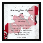 Red Rose Petals in Snow, Winter Wedding 5.25x5.25 Square Paper Invitation Card