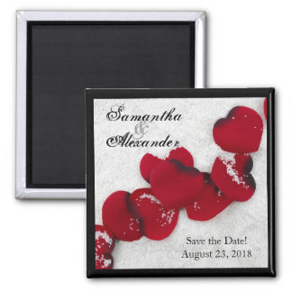 Red Rose Petals in Snow, Winter Wedding Magnet