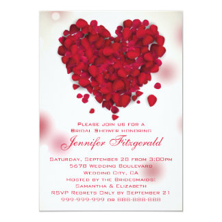 Red Rose Petals Love Heart Bridal Shower 5x7 Paper Invitation Card