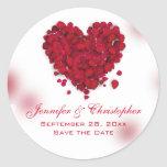 Red Rose Petals Love Heart Save the Date Classic Round Sticker