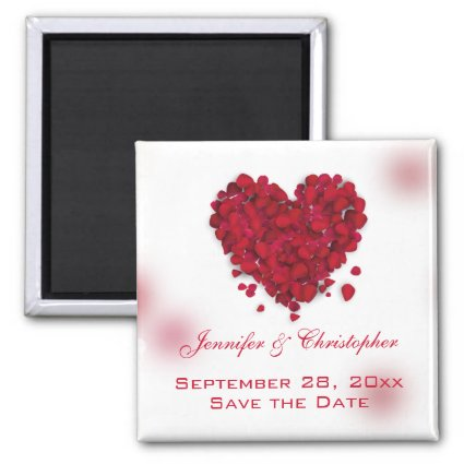 Red Rose Petals Love Heart Save the Date 2 Inch Square Magnet