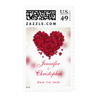Red Rose Petals Love Heart Save the Date Postage
