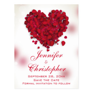 Red Rose Petals Love Heart Save the Date Postcard
