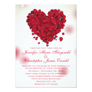 Red Rose Petals Love Heart Wedding 5.5x7.5 Paper Invitation Card