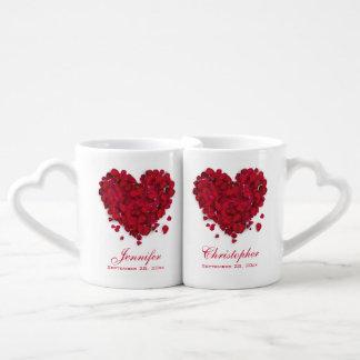 Red Rose Petals Love Heart Wedding Coffee Mug Set