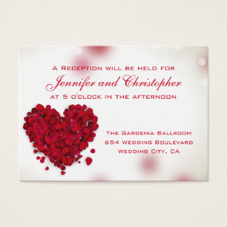 Red Rose Petals Love Heart Wedding Reception Cards