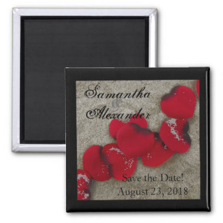 Red Rose Petals on Sand Beach Wedding 2 Inch Square Magnet