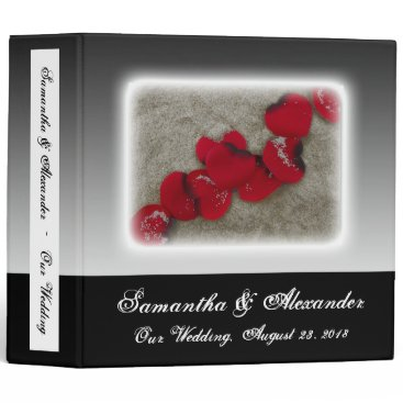 Beach Themed Red Rose Petals on Sand Beach Wedding Binder