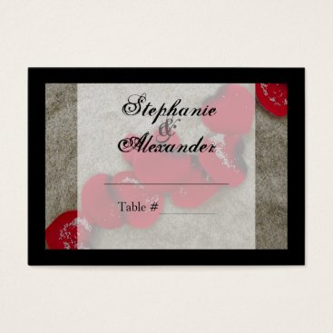 Beach Themed Red Rose Petals on Sand Beach Wedding Business Card