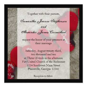 Beach Themed Red Rose Petals on Sand Beach Wedding Card