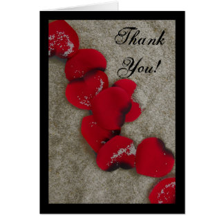 Red Rose Petals on Sand Beach Wedding Card