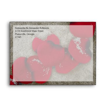 Beach Themed Red Rose Petals on Sand Beach Wedding Envelope