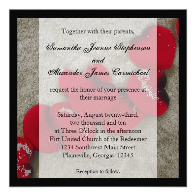 Red Rose Petals on Sand Beach Wedding Personalized Invitation