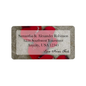 Beach Themed Red Rose Petals on Sand Beach Wedding Label