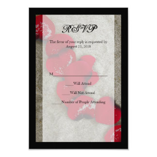 Red Rose Petals on Sand Beach Wedding RSVP Card