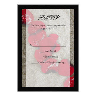 Red Rose Petals on Sand Beach Wedding RSVP Invitations