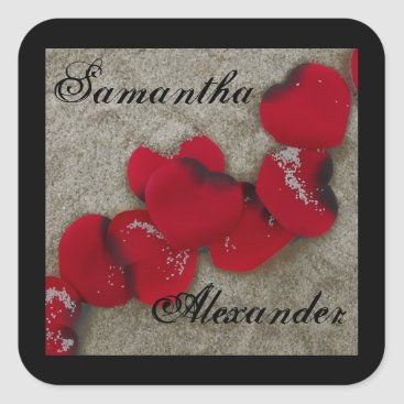 Beach Themed Red Rose Petals on Sand Beach Wedding Square Sticker