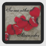 Red Rose Petals on Sand Beach Wedding Stickers