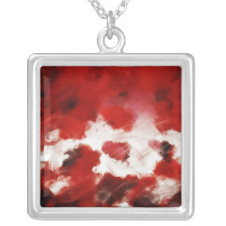 Red Rose Petals Painting Art - Necklace