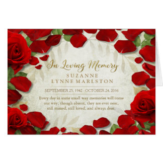 Red Rose Petals Remembrance Sympathy Thank You Card
