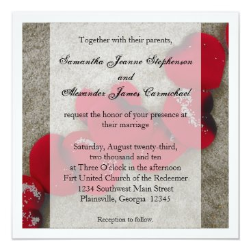 Beach Themed Red Rose Petals, Sand Beach Wedding Card