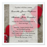 Red Rose Petals, Sand Beach Wedding 5.25x5.25 Square Paper Invitation Card