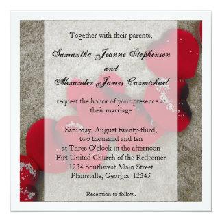 Red Rose Petals, Sand Beach Wedding Invitation