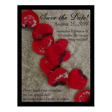 Beach Themed Red Rose Petals Sand Beach Wedding Save the Date Postcard