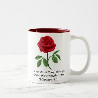 Red Rose Philippians 4:13 Bible Scripture Mug
