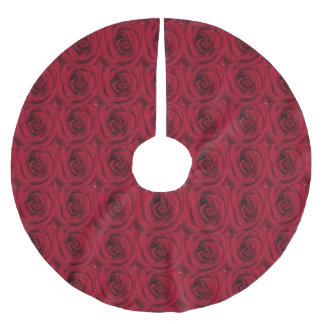Red Rose Photo Brushed Polyester Tree Skirt